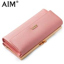 AIM Fashion Female Purse Long Design Pink Women Wallets High Quality Leather Women Coin Purse Phone Card Holder N121(China)