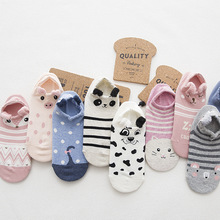 600pairs/lot women cute 3D cartoon cotton Invisible sock with ear/3D animal panda/pig/fox/dog/cat Invisible sock