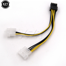 Hot 6 inch 2 x Molex 4 pin to 8-Pin PCI Express Video Card Pci-e ATX PSU Power Converter Cable - Molex to Pcie 8 pin Adapter