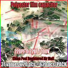 620PC/Lot Polyester film capacitor kits 31values each 20pcs 100V 2A221J-2A224J 221pf-224pf(220pf-0.22uf)(China)