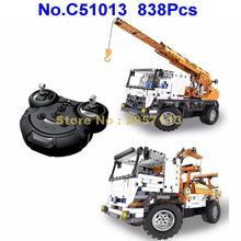 C51013 838pcs 2in1 Technic Remote Control RC City Engineering Crane Truck Building Block Brick Toy