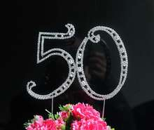 "1pcs Large Diamante Rhinestone Letter ""50"" Cake Toppers For Wedding Birthday Anniversary Party Decoration(China)"