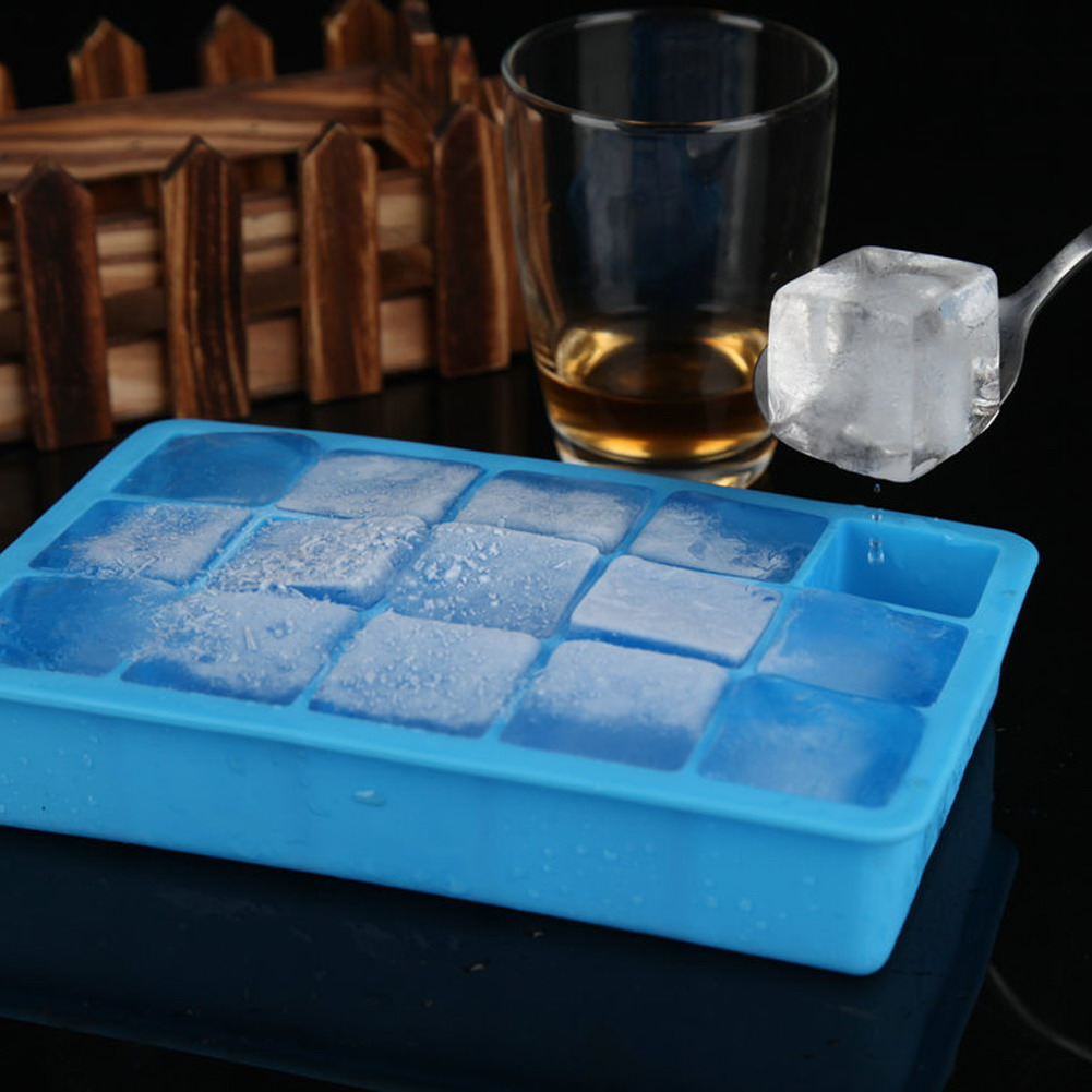 15 Grids Food Grade Silicone DIY Ice Lattice Cube Mold Square Shape Ice Cream Tray Fruit Ice Cube Maker Ice Container 5 Colors(China)