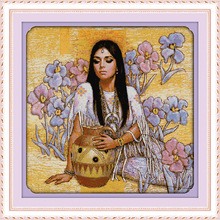 The beauty and ceramic pot in flower Printed Canvas DMC Counted Cross Stitch Kits printed Cross-stitch set Embroidery Needlework(China)