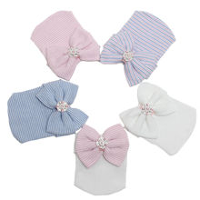 Cute Newborn Baby Girls Boys Infant Girl Toddler Comfy Bowknot Hospital Cap Beanie Hat Easy To Wear Or Take Off(China)