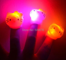 Free shipping 6pcs/lot soft flicker led finger ring lights led KT cat ring party ring for birthday party decorations kids(China)