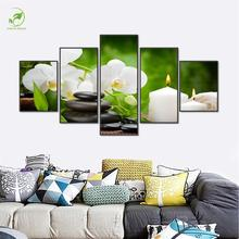 Modern 5pcs Green Landscape Wall Art Melamine Sponge Board Frame Canvas Oil Painting Flowers Candle Picture Room Decor Art Paint