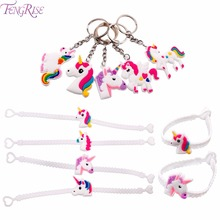 FENGRISE Unicorn Wristband Cute Key Chain Kids Birthday Party Favors Unicorn Rubber Bracelet Unicorn Party Supplies(China)