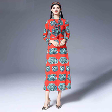 2018 New Spring Pretty Vegetables Print Cute Women Dress High Quality European Slim Full Sleeve O_neck Red Sweet Dress(China)