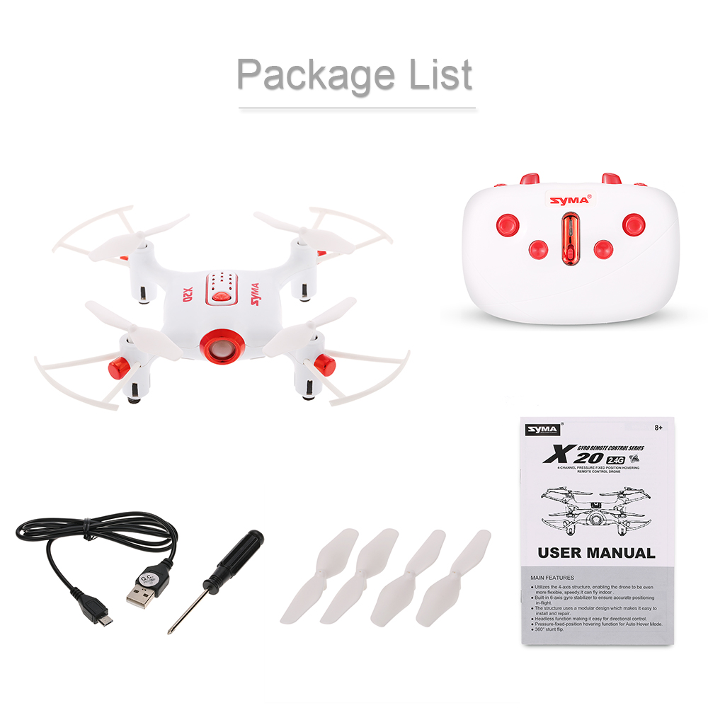 Original SYMA X20 2.4G 4CH 6-axis Gyro Pocket Drone RC Quadcopter HelicopterRTF withHeadless Mode Altitude Hold 3D-flip Function