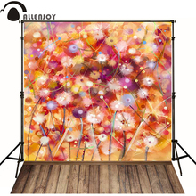 Allenjoy Photographic background Wood orange flower dandelion newborn vinyl backdrops photocall new design wall floor(China)