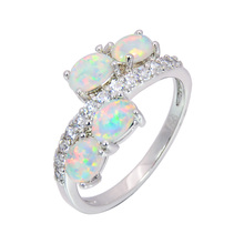 Wholesale & Retail Fashion Fine White Fire Opal Rings 925 Sterling Sliver Jewelry For Women RJL170127002(China)
