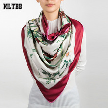 MLTBB Women Large Square Scarves Winter Scarf New Fashion Female Printing Silk Scarf Spring Autumn Head Scarves Ladies Echarpe(China)