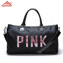 Designer Metal Sequins PINK letters Gym bag for women large sport fitness bag Women Tote Handbag Travel Duffle Bolsa(China)