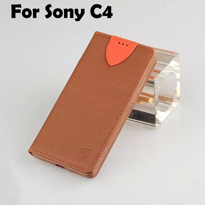 Luxury Retro Leather Case For Sony Xperia C4 DUAL Flip Cover Case Wallet For Sony E5303 Fashion Phone Case For Women Pink Purple(China (Mainland))