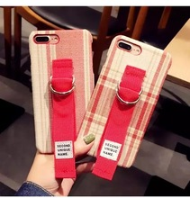 New Korea Second Unique Name Retro Fabric Art With Ring Holder Case Cover For Iphone 6 6S 7 7S 8 6P 7P 8P X(China)