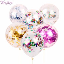 FENGRISE 10pcs 12inch Gold Confetti Balloon Giant Clear Birthday Balloons Baby Shower Decoration Birthday Balloon Party Supplies(China)