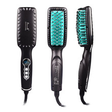 2017 New Hot Hair Straightener Brush Brazilian Human Ceramic Hair Flat Iron Comb with LCD