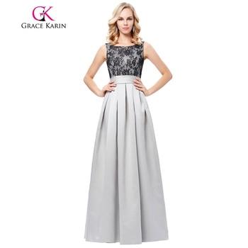 Grace karin vestidos de noche largo 2017 del cordón v espalda gris lujo Satén Robe De Soirée Banquete Partido de Noche de Baile Elegante vestidos