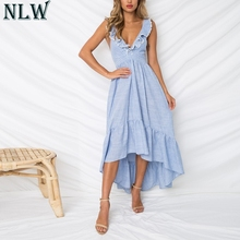 Buy NLW Blue Striped Summer Dress Ruffle Peplum Long Dress 2018 Women V Neck Backless Sexy Dress Chic Backless Beach Party Vestidos for $20.72 in AliExpress store