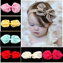 "try order 20pcs/lot kids Girls 3.9"" Boutique Chiffon Bows Soft Hair Bows for Kids Headwear Free Shipping(China)"