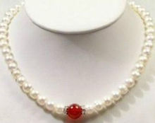 "New fashion 7-8mm natural freshwater cultured white pearl nearround beads necklace red jades stone women chain jewelry 18""BV50(China)"