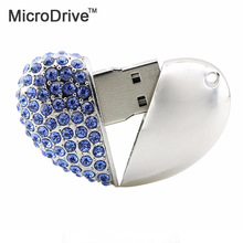 2017 Best Lovely Heart USB Flash Drive past Diamond Bling LOVE USB 2.0 Flash Drive U Disk to 4 GB 8 GB 16 GB 32 GB flash drive