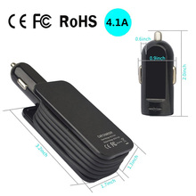 Car Charger 4 Ports 5V 4.1A Multi USB Phone Charger Portable Travel Charger with Extended 1M Cable for Phones Tablets GPS