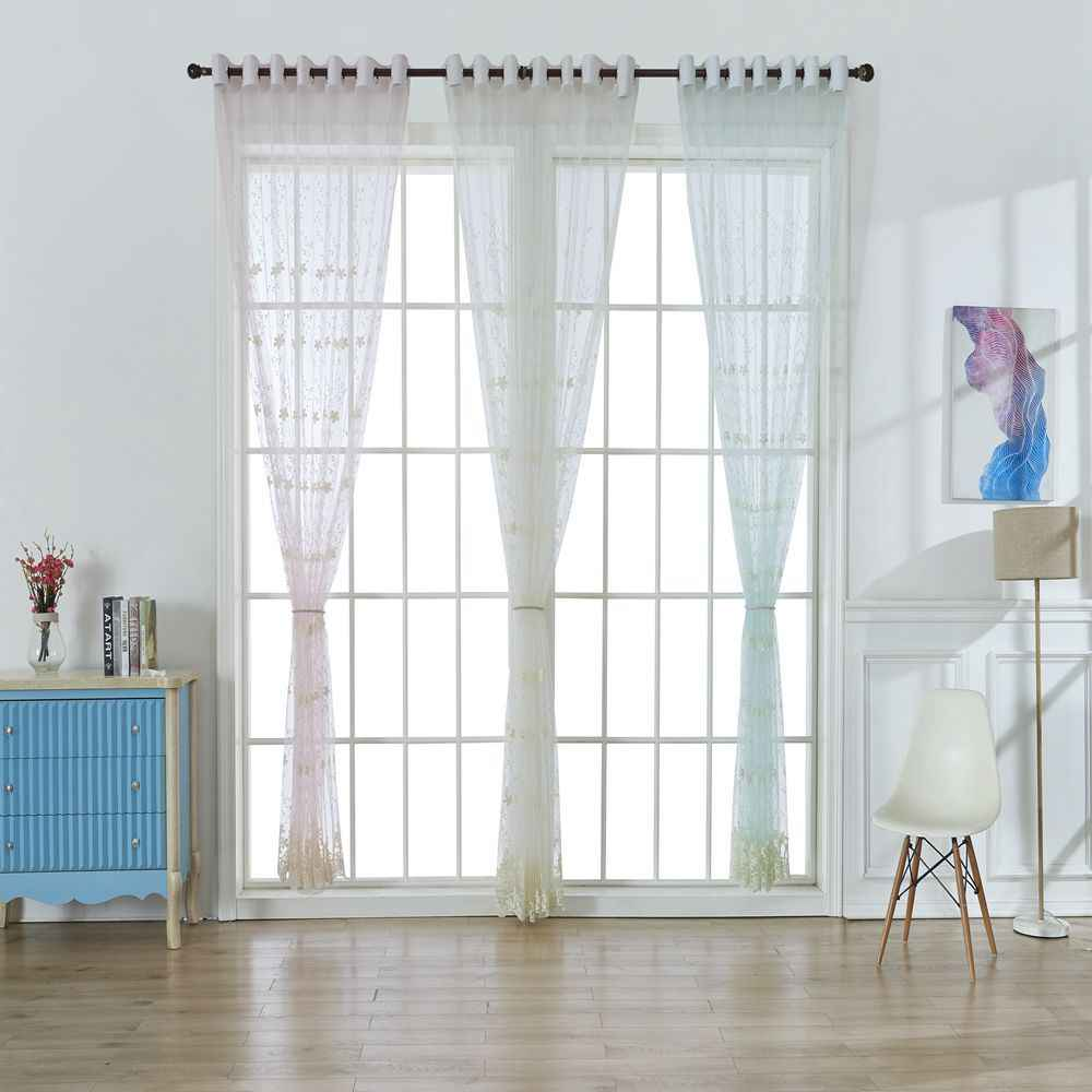 Embroidery Flowers Lace Curtains for Living Room Bedroom Sheer Kitchen Curtain Window Treatment Screen Pink White Tulle