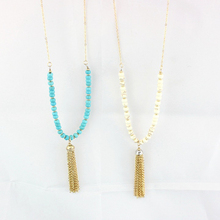 The New European and American trade jewelry long necklace pendant tassels Green, white and Green jewelry