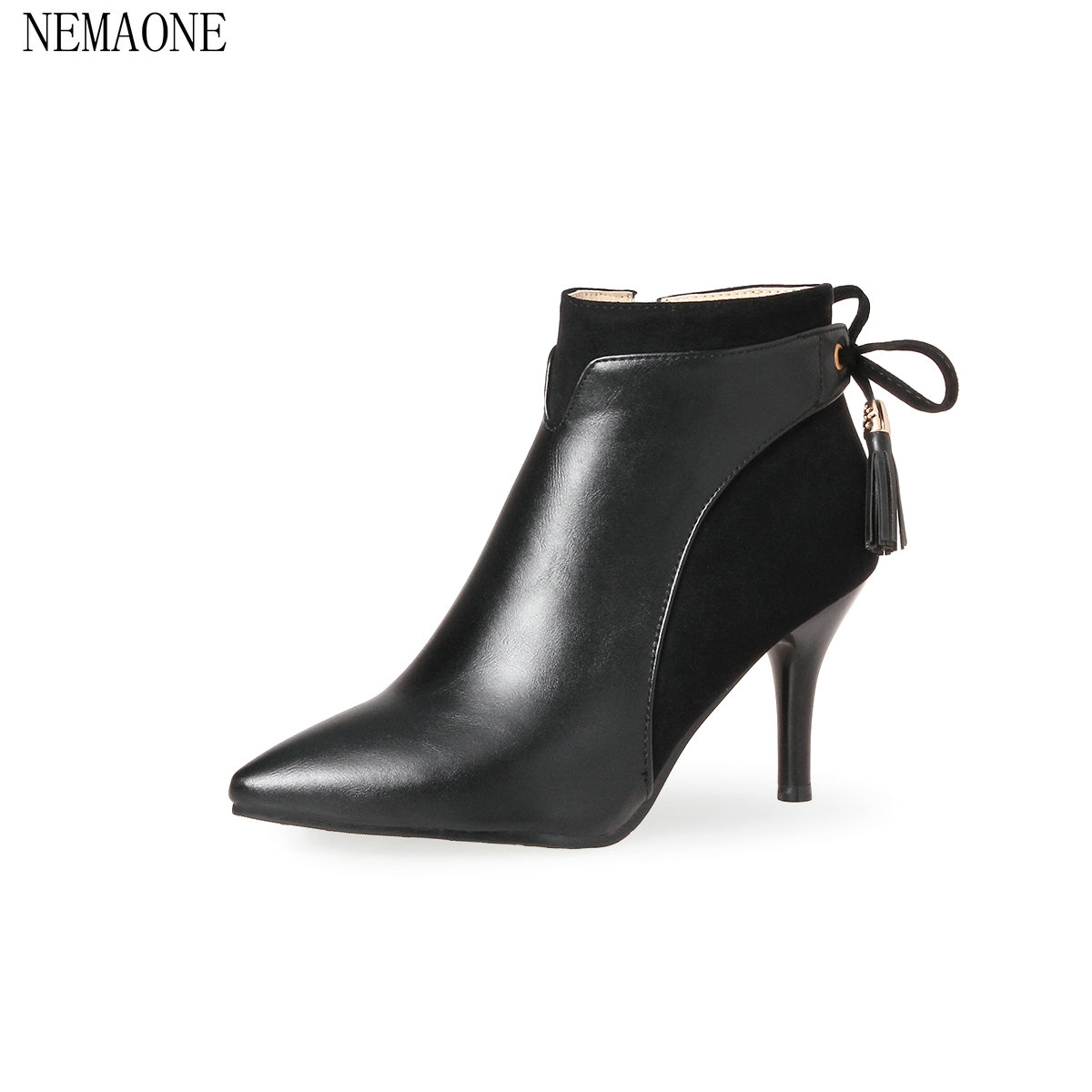 NEMAONE 2018 Women Ankle Boots Black Zipper Deisgn Fashion Westrn Style Pointed Toe Square High Heel Ladies Boots Size 34-43<br>