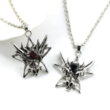 Retro Old Ngau Tau Red Black Crystal Pendant Gothic Stainless Steel Men's Motorcycle Necklace for Men's Clothing Accessories(China)