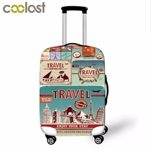"British Style Luggage Protective Cover Elastic Travel Accessories for 18""-28"" valise bagages roulettes Scenery Print Case Covers"