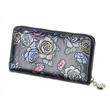 Black Embossed Flower Rose Garden Design Real Genuine Leather Zipper Long Wallet Women Clutche Purse Coins Phone Card Holder bag(China)