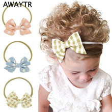 Childrens Gift AWAYTR 4 pcs/lot Kids Plaid Hair Bow 2017 Dot Print Nylon Headband Elastic Band Pretty Girls Hair Accessories(China)