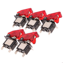 5pcs Red 12V 20A Cover LED Light Car Truck LED Toggle Switch Light Racing Car Auto Cover Toggle Switch Rocker Control(China)