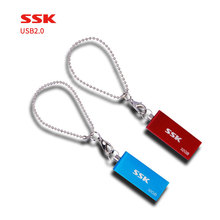 Free shipping SSK USB2.0 SFD042 Rotation style metal blue and red 100% waterproof portable usb flash disk for computer(China)