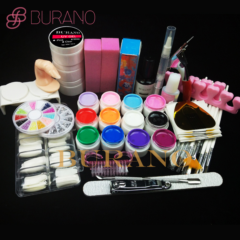 Burano 12 Color UV Gel Practice Fingers Cutter top coat Nail Art DIY Tool Kits Sets #001set manicure set(China (Mainland))