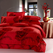 ARNIGU rose printing wedding red bedding set 100% Cotton queen double full size duvet/quilt cover bedsheet pillowcase 4pcs sets