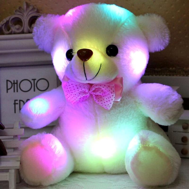 Cute LED Bear Stuffed Animals Plush Soft Hug Toy Baby Kids Xmas Gift