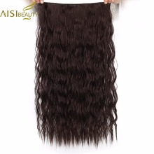 "AISI BEAUTY Synthetic Hair 5 Clips Extension Water Wave Long 22"" 55 cm For Women Black Brown Heat Resistant(China)"