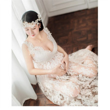 Maternity Lace Flower Gown Dress Pregnant Photography Props V-Neck Perspective Dress Fancy Pregnancy Photo Shoot Studio Clothing