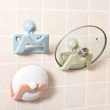 Top Sale Bathroom Kitchen Storage Holders Pink Towel Rack Pot Lid Hanger Vacuum Suction Cup Wall-Mounted Organization Tool(China)