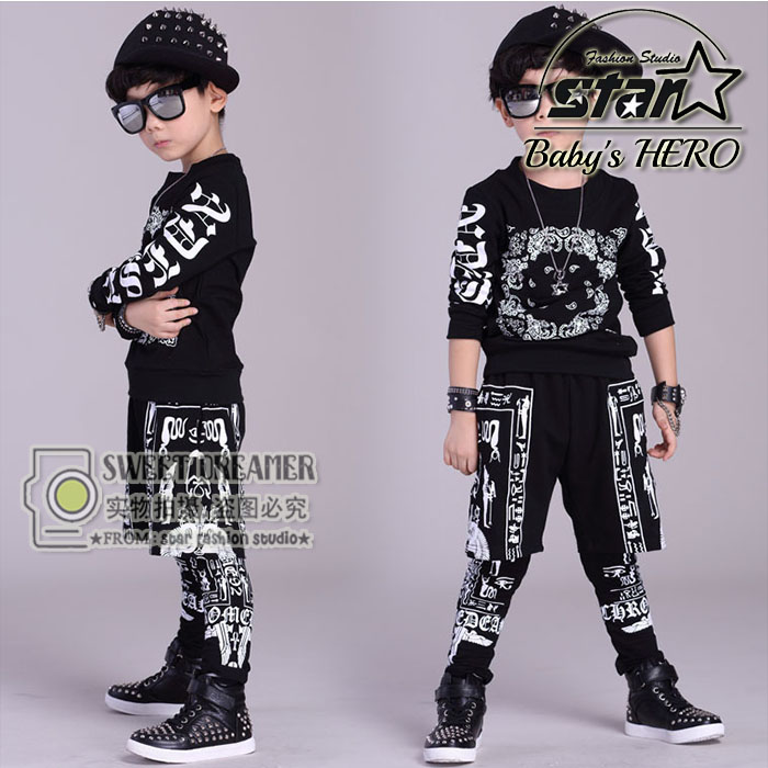 Autumn Kids Hip Hop Dance Clothes Childrens Sports Suit Cotton Long-sleeved Clothing Set For Toddler Boys Spring Hiphop Outwear<br>