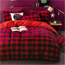 Red dark Blue big check 4pcs 100% cotton home hotel autumn winter comforter cover fitted sheet bedding set Queen/King size/3925