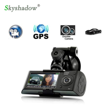 Skyshadow Dual Lens Car DVR Camera Black Box GPS logger Car Camera G-sensor 2.7'' LCD HD 1080P video recorder X3000 Cycle record(China)