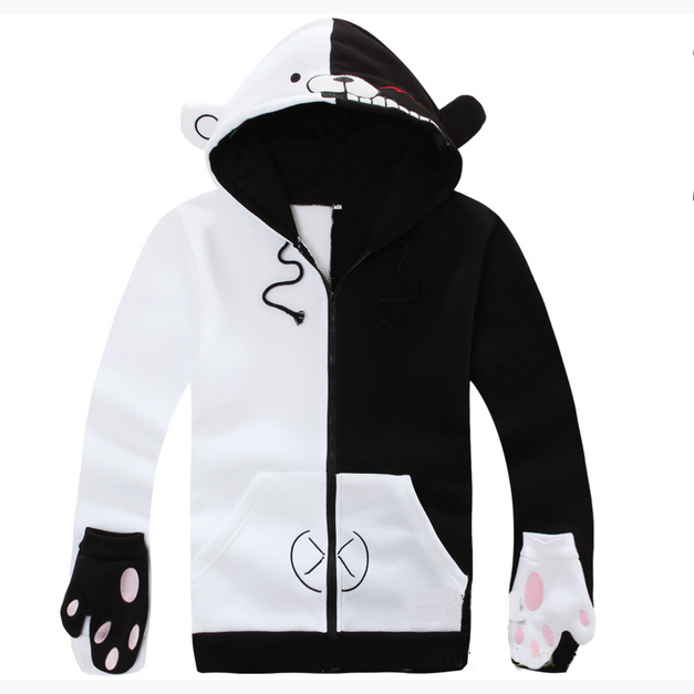 Danganronpa Monokuma Bear Spring Autumn Cartoon Anime Hoodies Sweatshirt Jacket Cosplay Costume For Woman/man