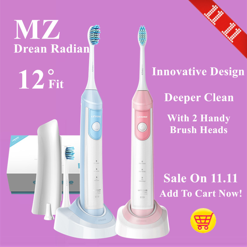 LEBOND Sonic Electric Toothbrush MZ Dream Radian Inductive Charging With 2 Handy Brush Heads For Adults Blue/Pink<br>
