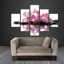 5 Pieces Frameless Canvas Photo Prints Purple Orchid Wall Art Picture Canvas Paintings Home Decor wall pictures for living room(China)