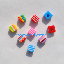 50 pcs DIY Bracelet Accessory Handcraft Department Mix Color Fringe Beads 10MM Square Shaped Resin Stripe Beads jewelry Findings(China)